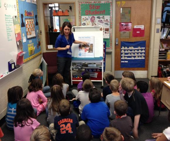 Veronica Hickey teachers her second graders about the upcoming presidential election