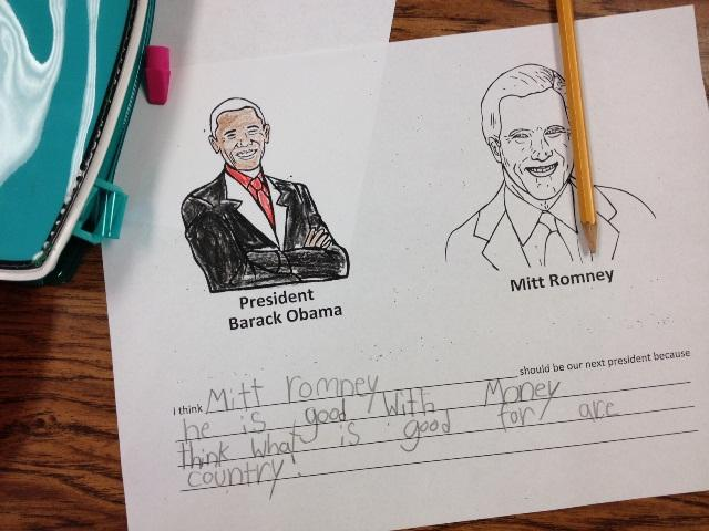 Money and taxes were big issues in this second grade mock election