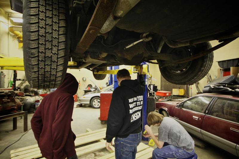 Students in auto tech class at Stockbridge High School