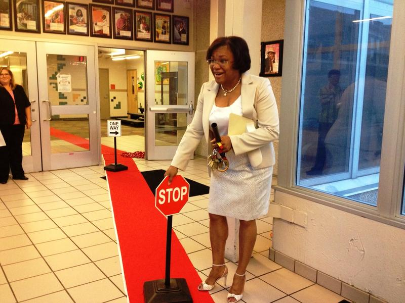 "Golightly Education Center Principal Sherrell Hobbs ""rolled out the red carpet"" for pre-K students on the first day of school."