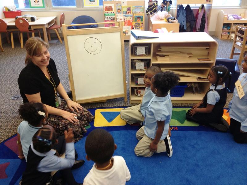 Teacher Laura Watt teaches four-year-olds in the Great Start Readiness Program at Golightly Education Center in Detroit.