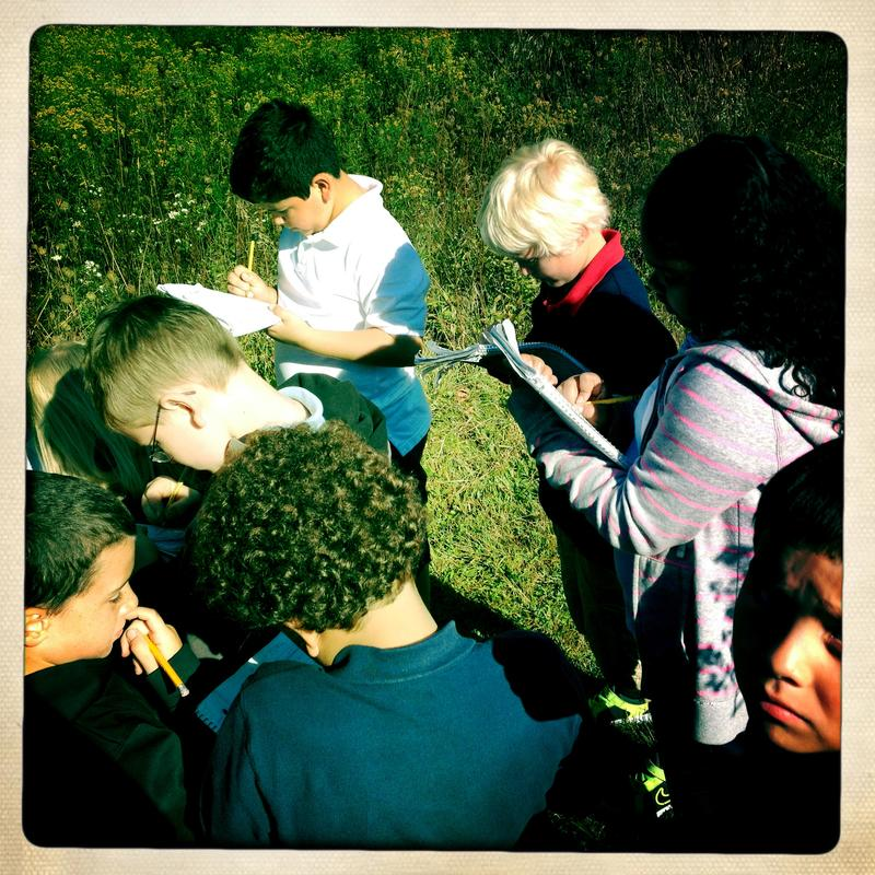 Third graders record field notes about seeds and fruits found on a trail in back of CA Frost school.