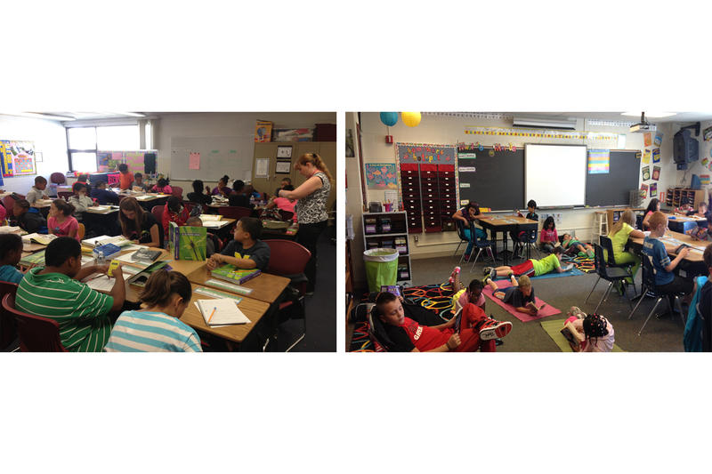 School X, on the left, is overcrowded while students at Novi Meadows have plenty of room to stretch out while they read independently.