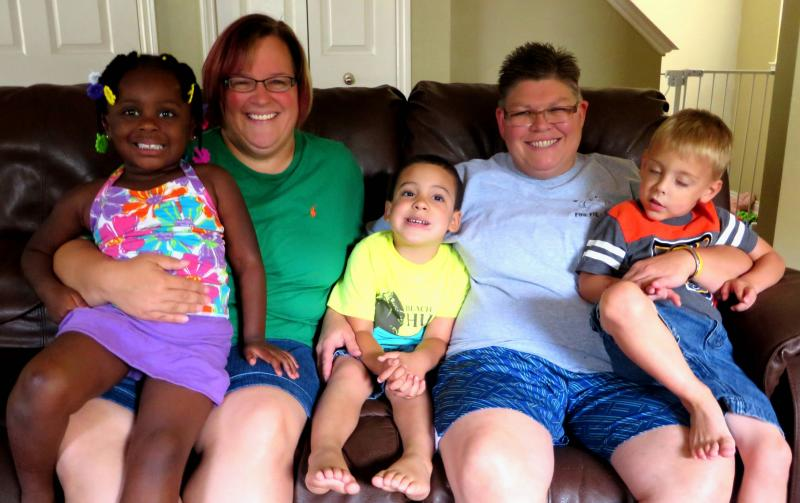 April DeBoer, left, and Jayne Rowse with their three children.
