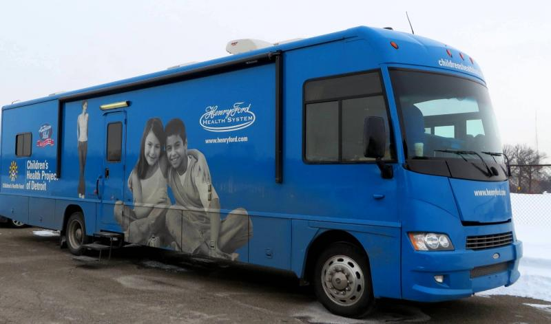 The Henry Ford Health System's mobile pediatric clinic. Children are tested for lead poisoning here.