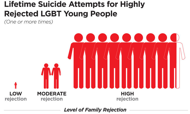 Based on hundreds of interviews with LGBTQ youth and families, the Family Acceptance Project codified a whole spectrum of rejecting and accepting behavior.