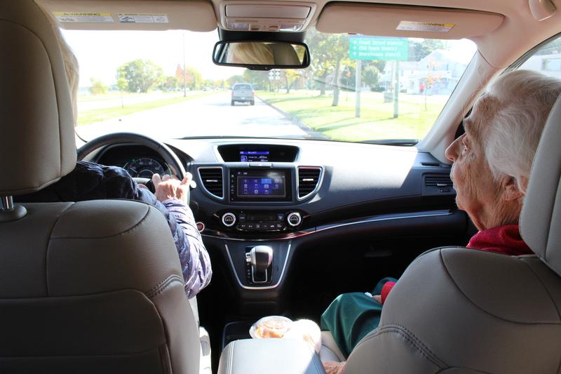 Nancy Hunter drives Margaret Skeba to her hair appointment in Traverse City.