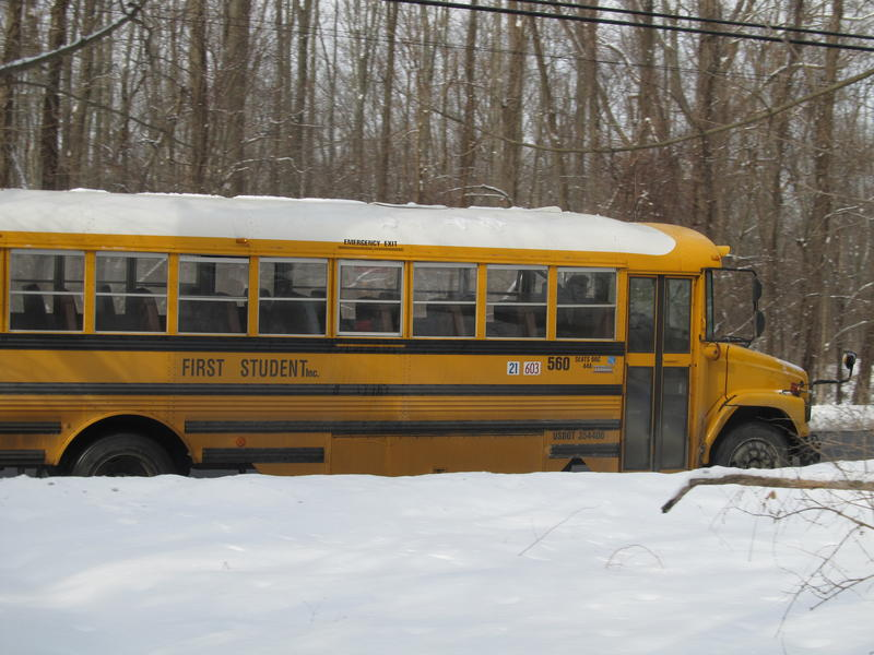 school bus covered in snow