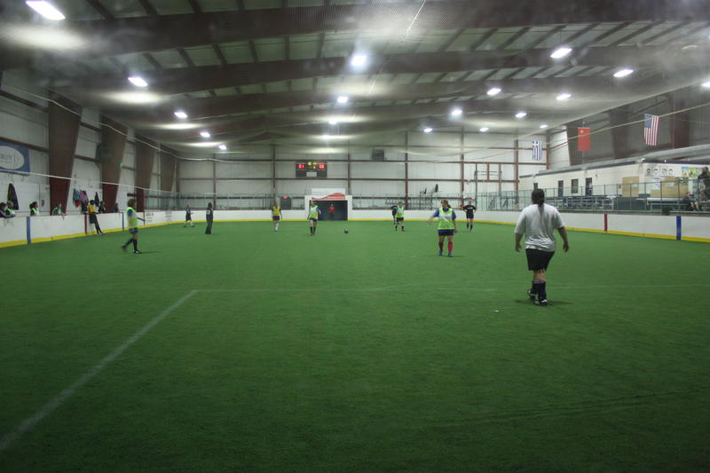 Indoor soccer practice involving Youth Journalist Christa Maddick.