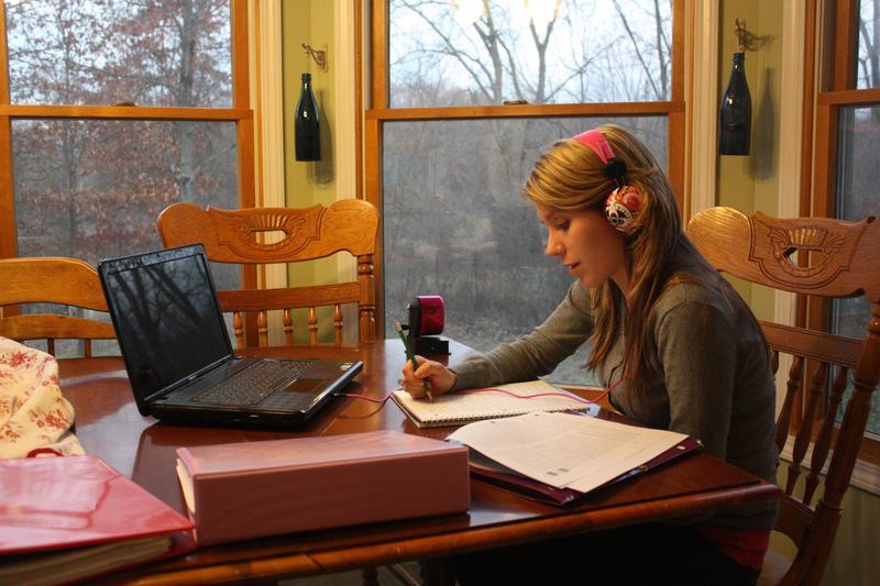 Jenna Chapman doing homework. Her parents encourage her to make sure she enjoys high school.