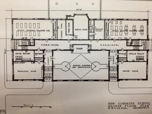 """Grand Rapids' Congress Elementary was founded in the early 1890s. The current school building went up in the early 1920s. This photo comes from a binder of the school's historic documents. Renee Howard's third grade class is on the building's third floor, above what's listed as the """"sewing room"""" in this old floorplan."""