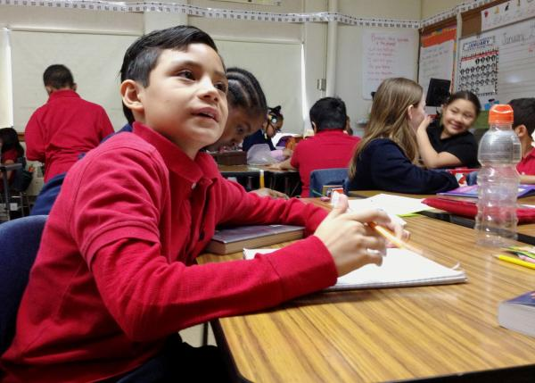 How does a school with low test scores handle advanced students? Alan's mom Mirna hears the plan during parent-teacher conferences.
