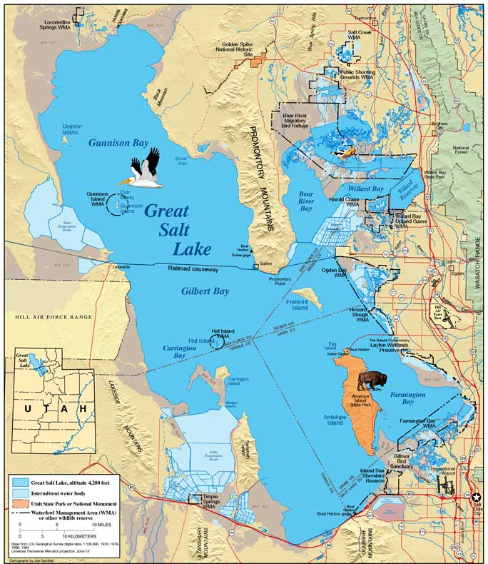 Physical Characteristics Of Great Salt Lake Great Salt Lake Map