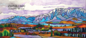 Stained glass mountain scene