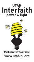 Logo for Utah Interfaith Power & Light showing a CFD light bulb in yellow, looking like a beehive, with bees buzzing around it.