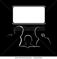 Silhouette image of family watching television.