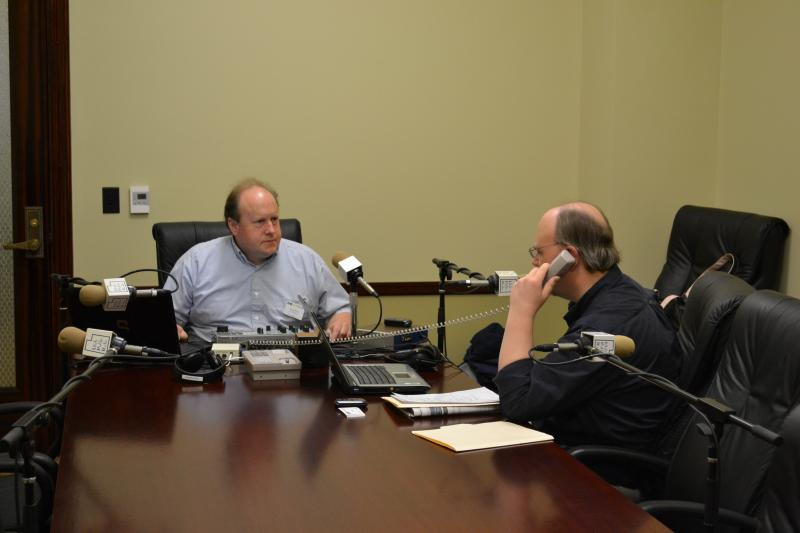 Chief Engineer Friend Weller and Host Tom Williams in our make-shift studio from the Capitol.