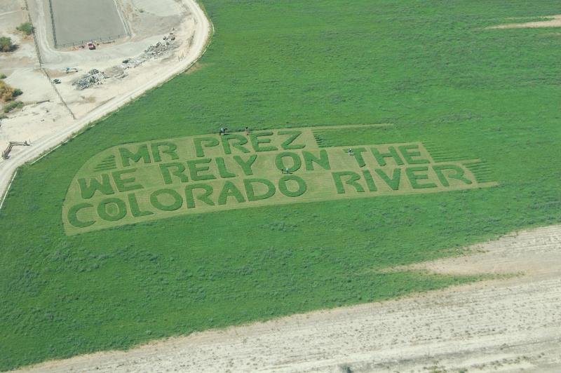 This message to President Obama in Western Colorado occupies an acre. Each letter is 30 feet from top to bottom and the entire message is about 360 feet long, equal to the height of a 36 story building.
