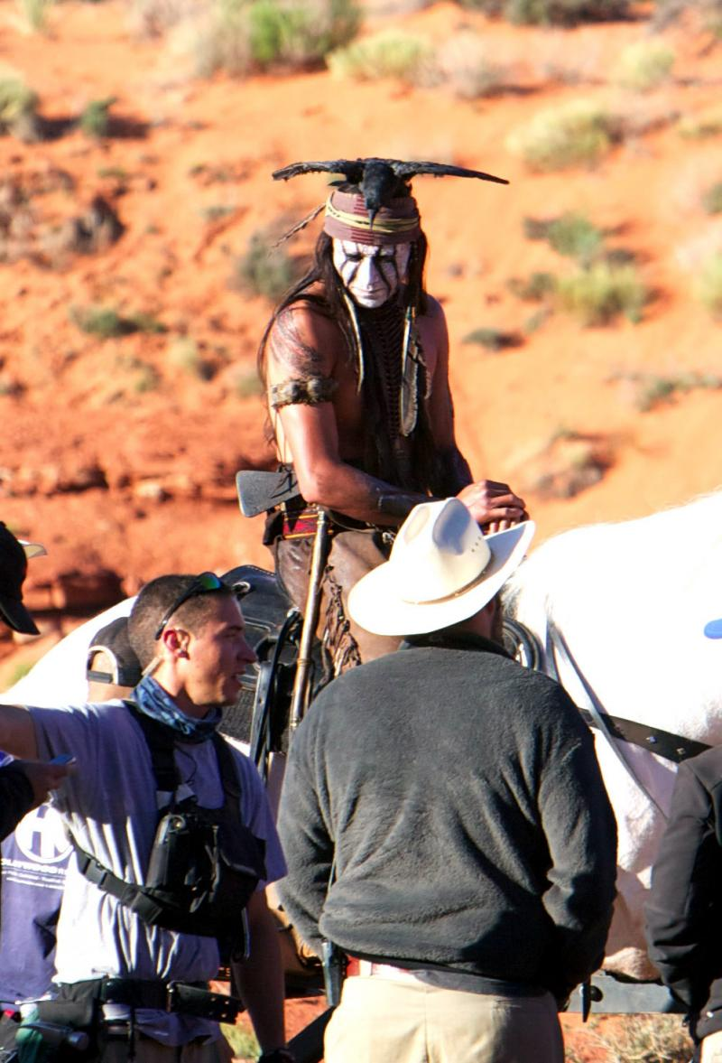 Johnny Depp as Tonto on the set of the Lone Ranger