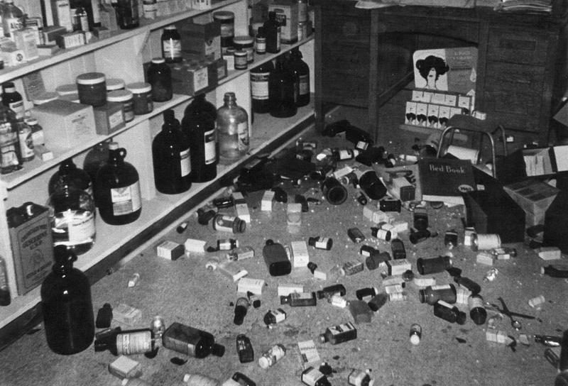 Things were shaken up at Nivison Drug during the Richmond earthquake of 1962. Much of the inventory could not be salvaged and had to be discarded, leading to heavy financial losses for some business owners.