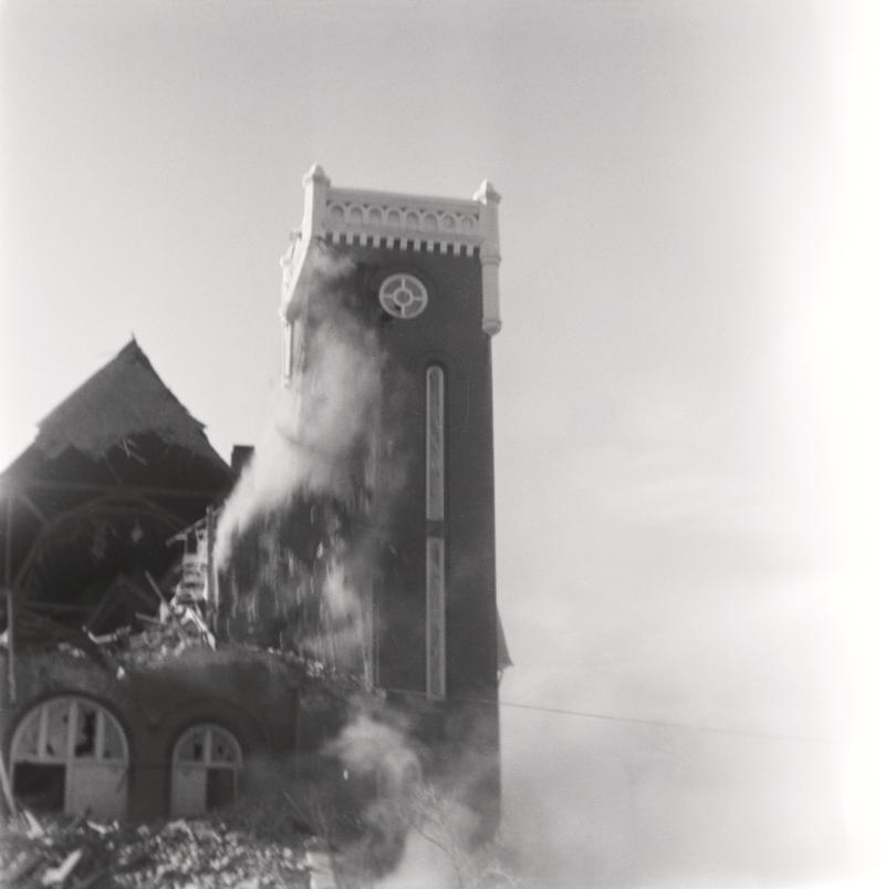 Demolition of the Benson Stake Tabernacle. People were standing on the lawn of the church throughout the demolition; no one was warning them off or asking them to keep back.
