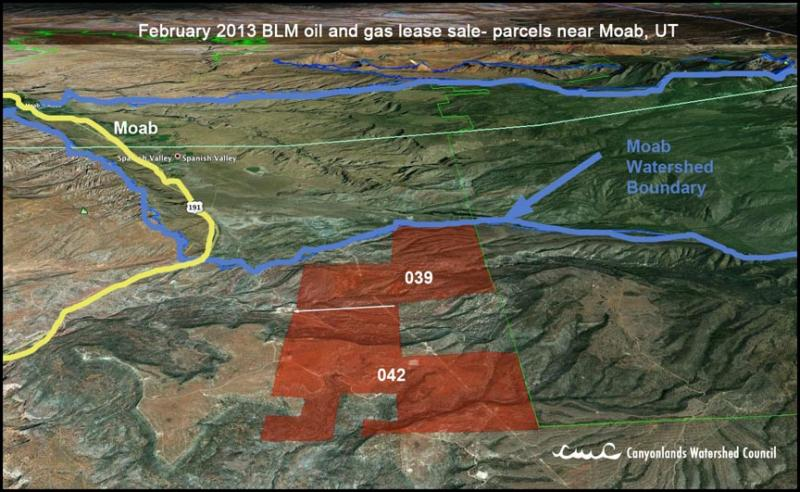 February 2013 BLM oil and gas lease sale - parcels near Moab.