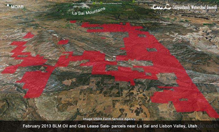 February 2013 BLM oil and gas lease sale - parcels near Libson Valley and LaSal