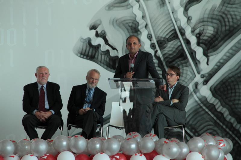 Adobe CEO Shantanu Narayen at the ribbon-cutting ceremony of the new building