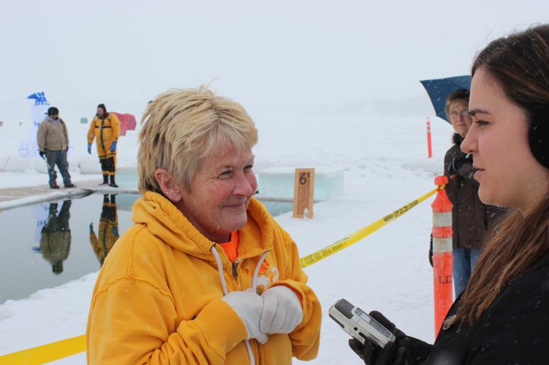One woman tells Storee Powell why she's plunging into the 36 degree water.