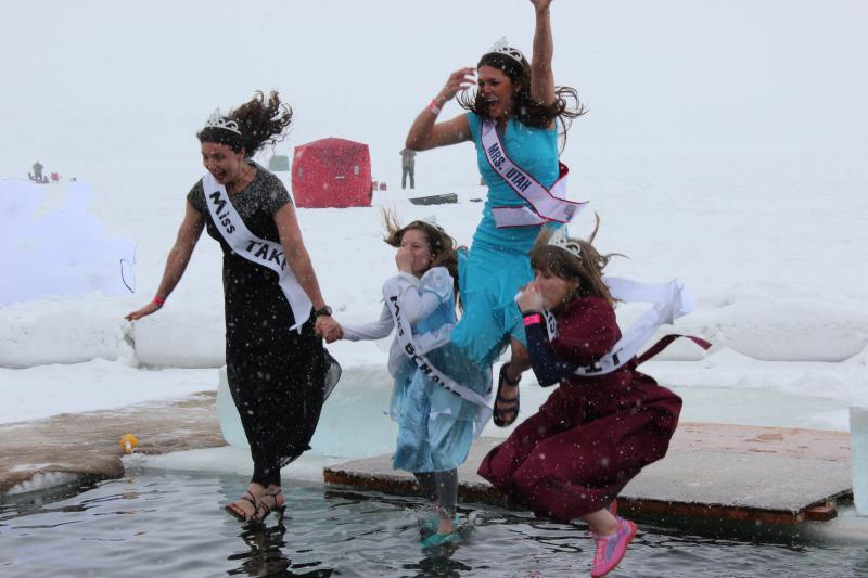 Mrs. Utah and her Ice Queens leap into the water.