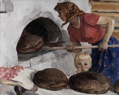 "Kozlov, Engels Vasilevich ""Baking Bread""* (1967). SOCIAL REALISM OIL ON CANVAS"