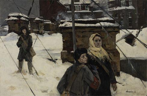 "Lomakin, Oleg Leonidovich ""Blockade of Leningrad"" (1961). SOCIAL REALISM OIL ON CANVAS"