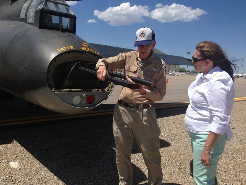 Layton resident and World War II veteran Paul Sersland talks about the aerial gunner position on a B-17