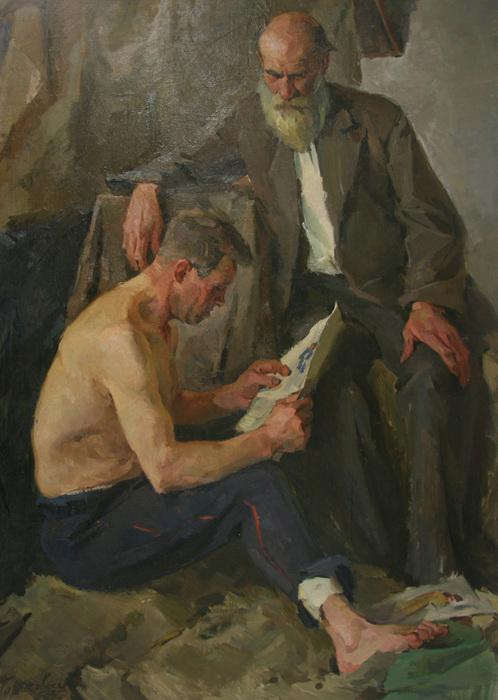 "Tartakovski, Isaak Iosifovich ""In the Artist's Studio"" (1958). SOCIAL REALISM OIL ON CANVAS"