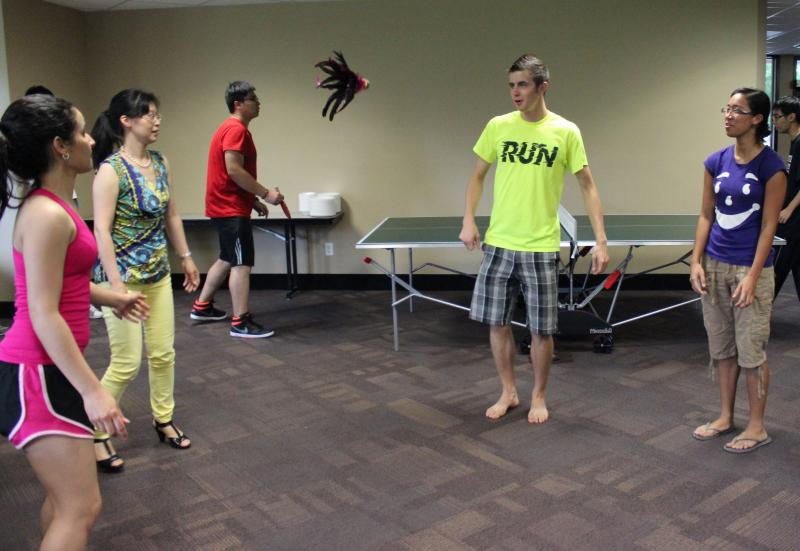 American and Chinese students play games at the Lundstrom Center.
