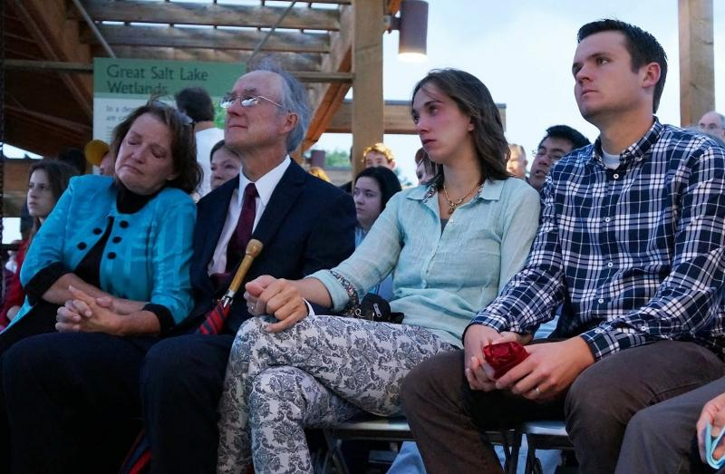 Margaret Wahlstrom, left, is seen with her family at the 9/11 memorial service in Kaysville.