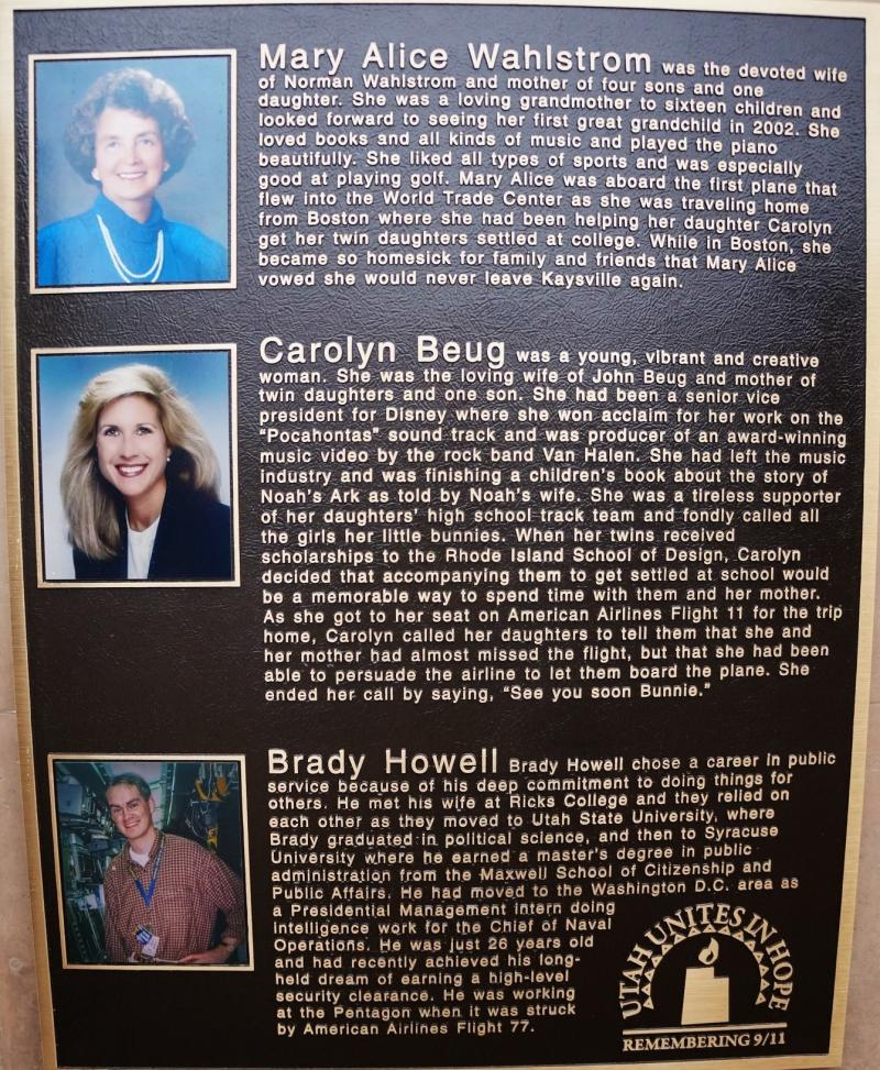 A plaque showing three Utah victims of the Sept. 11, 2001 attacks.