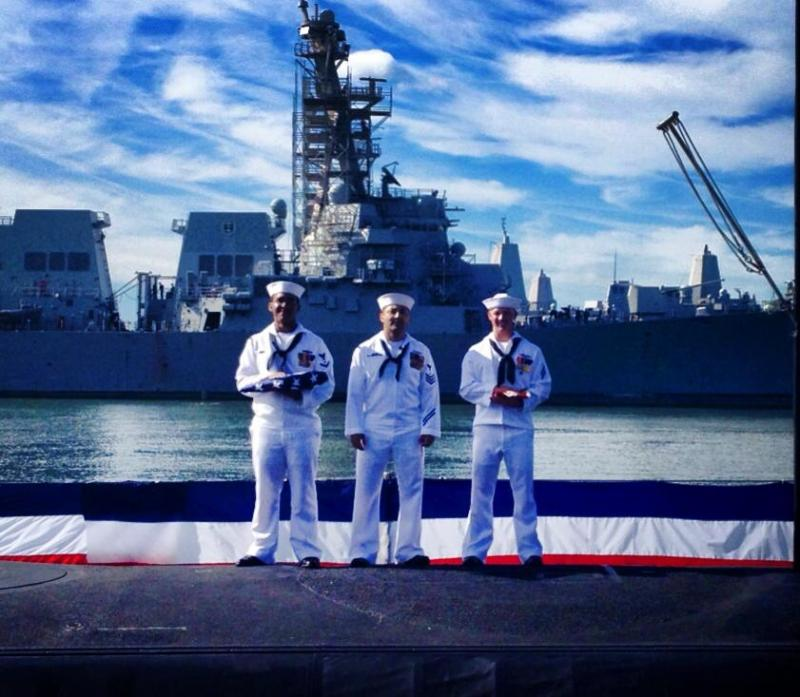 Naval officers on the day of the U.S.S. Minnesota commissioning ceremony.