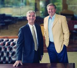 Mike Glauser and Jeff Clark; Clark and his wife have given 6 million dollars to the Huntsman School of Business at USU.