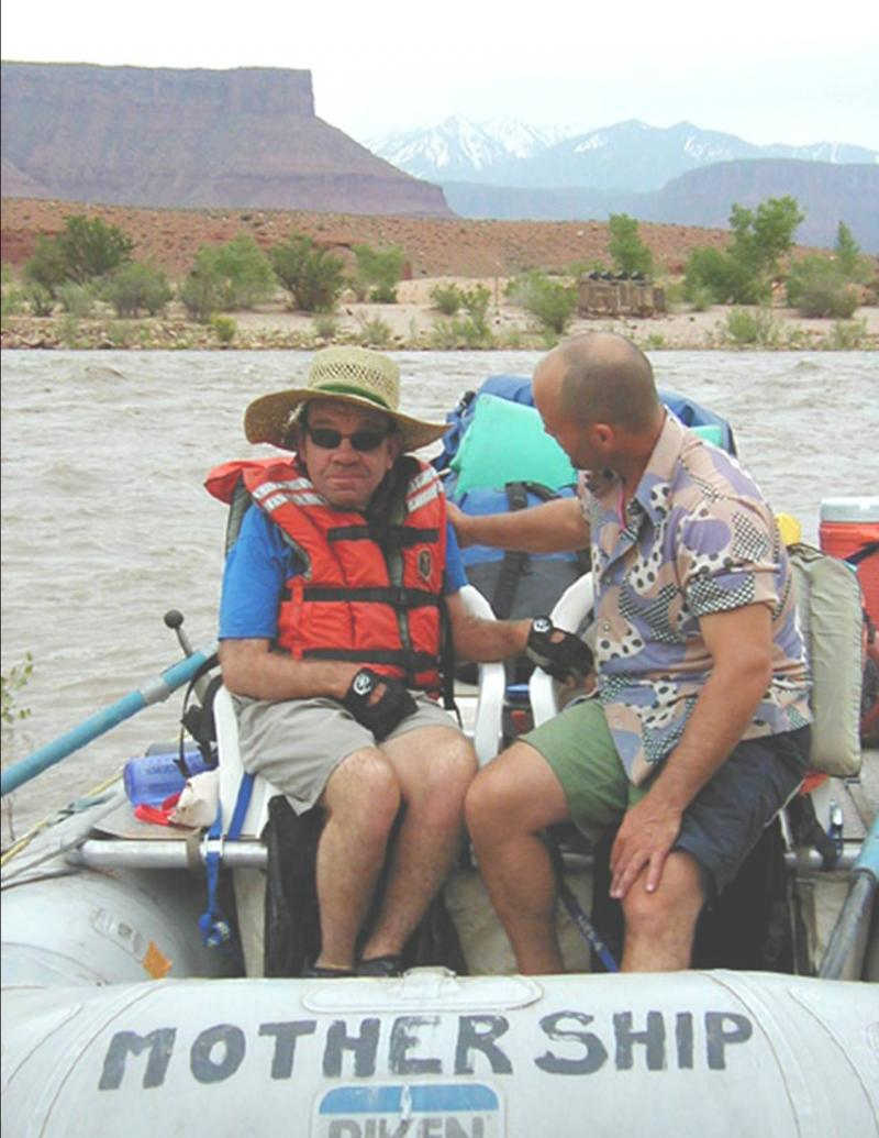 Mike Shurtleff with friend on the Colorado River around 2001.  Mike was one of Splore's first passengers and continued to float with Splore for many years, eventually serving on the Board of Directors.