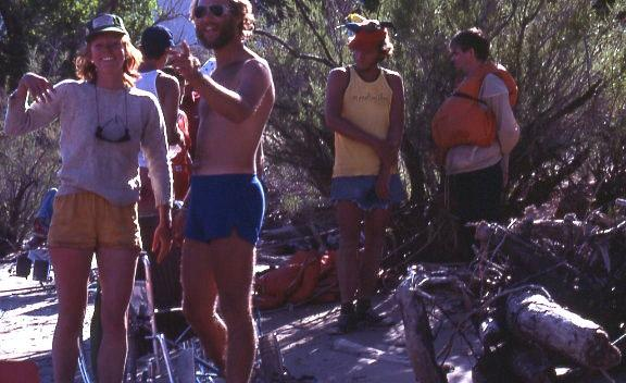 Martha Ham, first director of Splore, Steve Elam, Work Activity Director and Splore guides in 1980.  The Work Activity Center was the first group of brave souls willing to float the Colorado River with Splore.