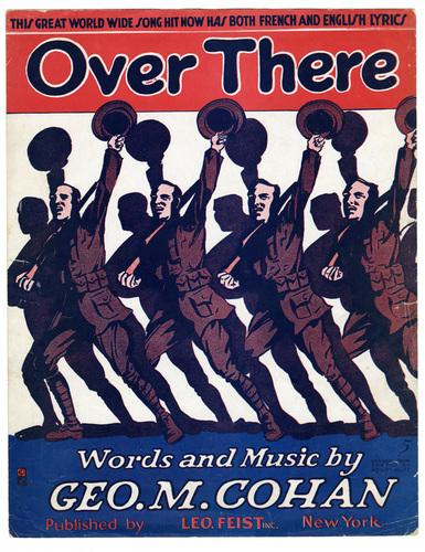 "A stylized picture of soldiers raising their hats in unison, and the title of the song ""Over There"" by Geo M. Cohan"