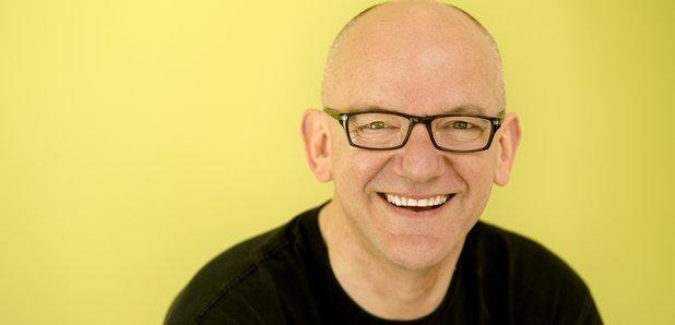A photograph of a smiling Bob Chilcott, against a yellow background