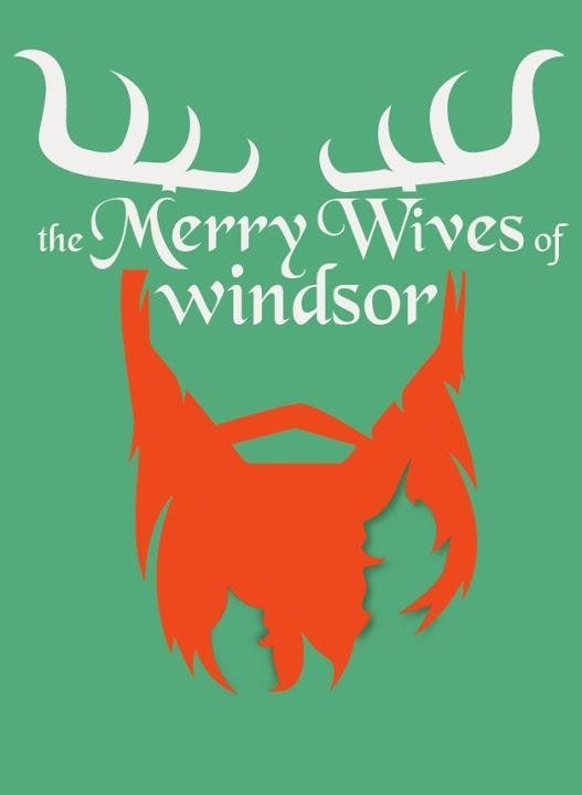"Poster with an Elk bust and the title ""The Merry Wives of Windsor"""