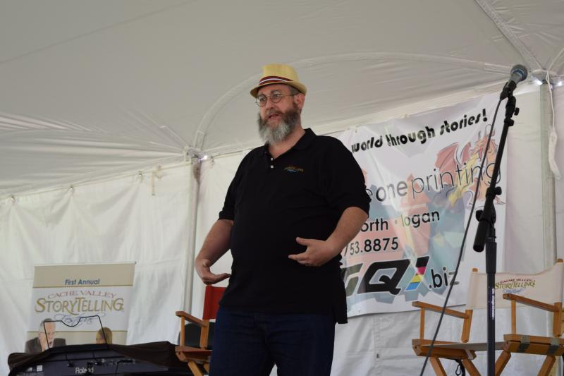 Storyteller Ted Erekson performing at the festival.