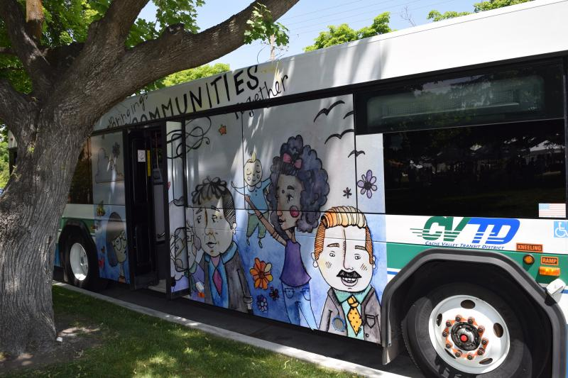 Student Alyssa Spear's artwork is featured on a CVTD bus.