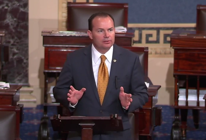 Senator Lee addressing the Senate.