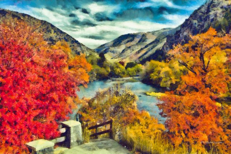 A painting displaying beautiful autumn colors in Logan.