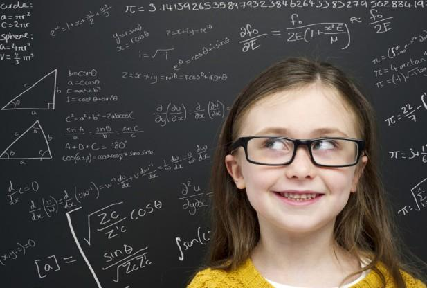 Girl with math on a board