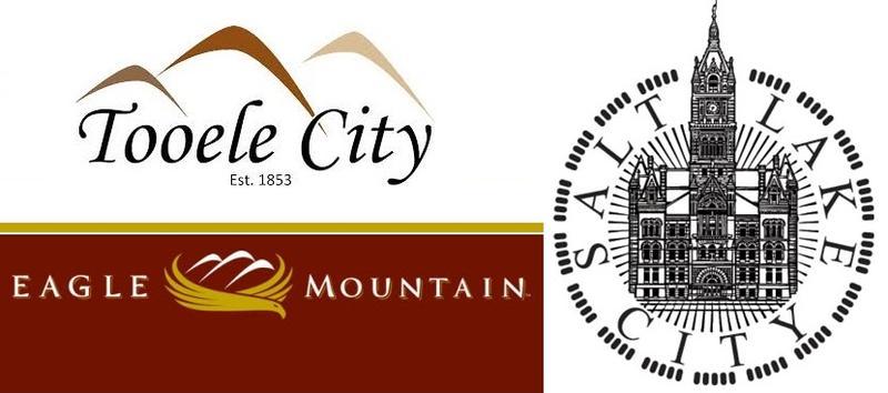 Logos of Tooele, Eagle Mountain and Salt Lake Cities